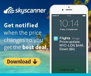 Skyscanner mobile app download banner