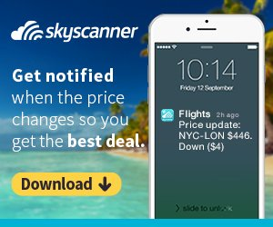 Skyscanner mobile app download banner