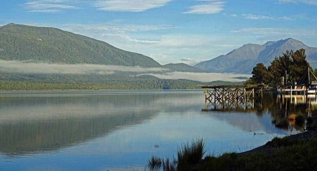 View of Lake Te Anau from the shore