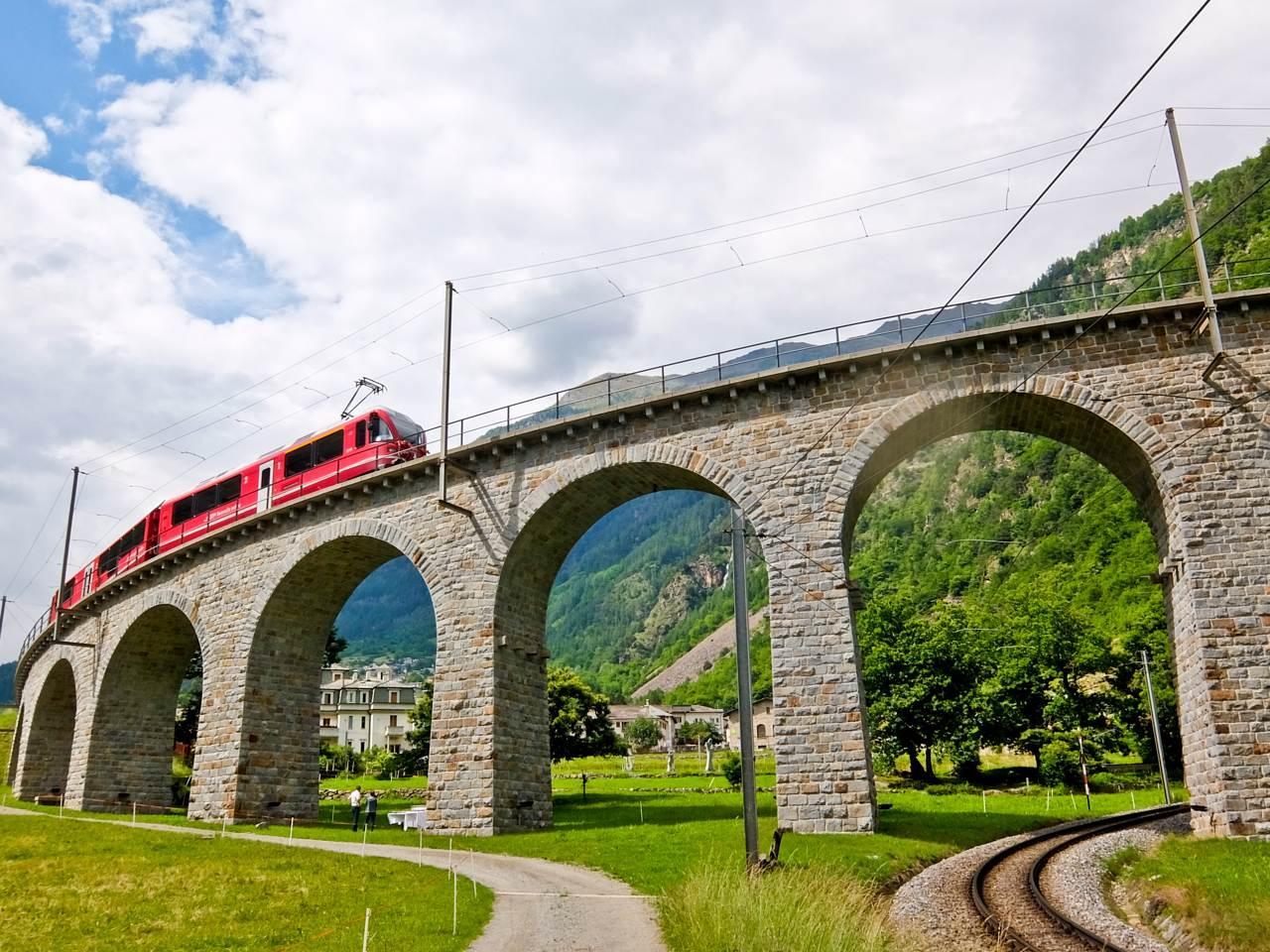 Brusio Circular Viaduct  Over the Alps via Gotthard Bernina Circular Tour on the Bernina Express Brusio Circular Viaduct