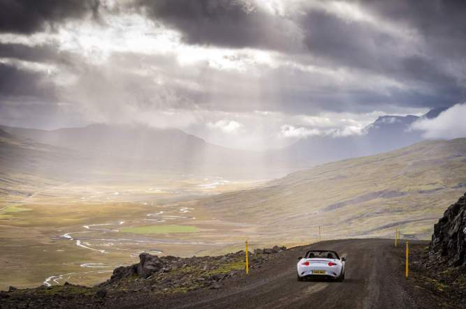 Mazda driving through vast isolation