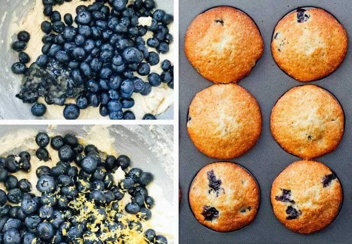 photo collage of blueberry muffin batter and 6 baked blueberry muffins in a muffin pan