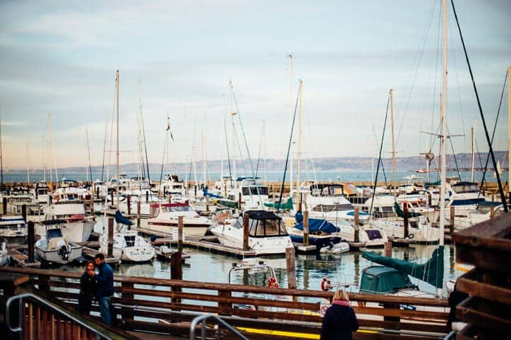 boats in the bay near fisherman's wharf san francisco california