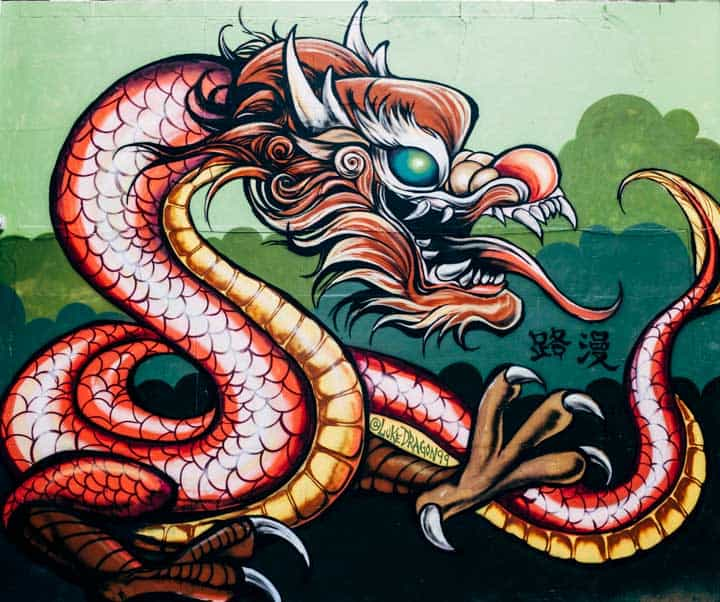 dragon mural in chinatown