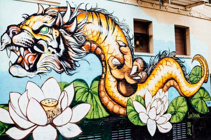 Serpent tiger mural in chinatown