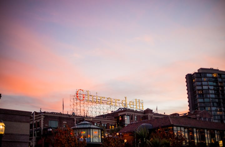 ghiradelli sign at sunset
