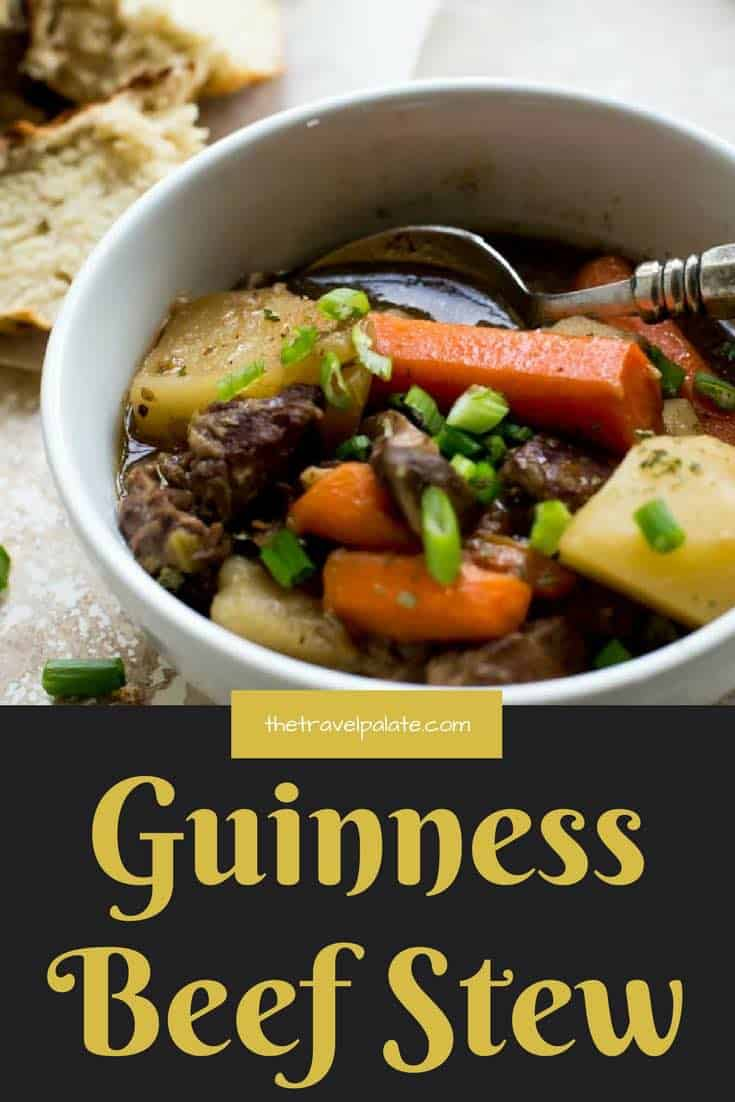Guinness Beef Stew! Just in time for St. Patrick's Day or any time of the year when you're craving something homey and comforting! #beefstew #guinnessbeer #comfortfood #thetravelpalate #stew #dinnerrecipe #stewrecipe
