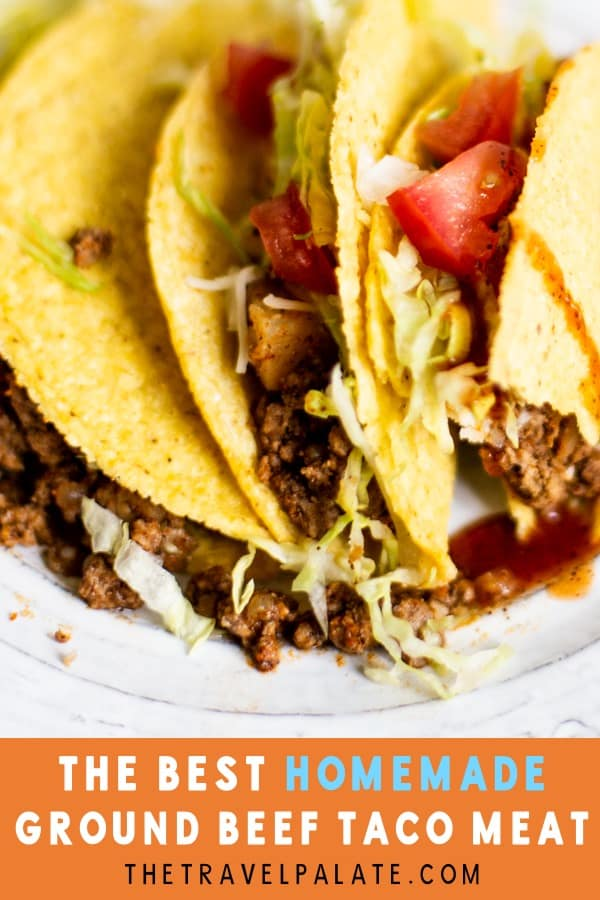 These Ground Beef Tacos are a quick and easy way to throw together a tasty and comforting weeknight dinner! This recipe is packed with the Tex-Mex flavors we all know and love. This is sure to become one of your family's favorite. #tacos #tacorecipe #groundbeeftacos #mexicanfood