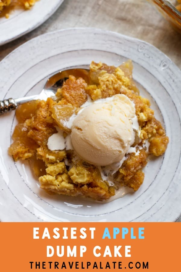 This amazing Apple Dump cake is going to be your Fall go-to dessert! It's packed with apple flavor with the addition of a caramel drizzle. You will love how easy Apple Dump Cake is to make! It would make the perfect Thanksgiving dessert, or just a nice treat for friends and family after dinner. #thetravelpalate #appledumcake #apples #falldessert #dessertrecipe #appledessertrecipe #thanksgivingdessertrecipe