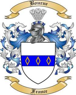 Bourne Family Crest From France By The Tree Maker
