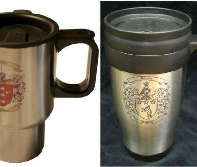 Travel Mug With Family Crest Coat Of Arms