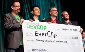 Evernote Devcup_August 2012 -- Phil Libin, Francis Chong, Rave Needleman, Seth Hitchings (de la stanga la dreapta)