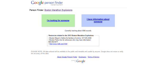 Google a activat Person Finder în urma atentatului terorist din Boston