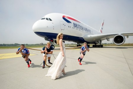 rugby players Bryan Habana / Chris Robshaw / Jean de Villiers / model Georgia May Jagger during the British Airways A380 Launch at Manston Airport on July 21, 2013 in Manston, England.