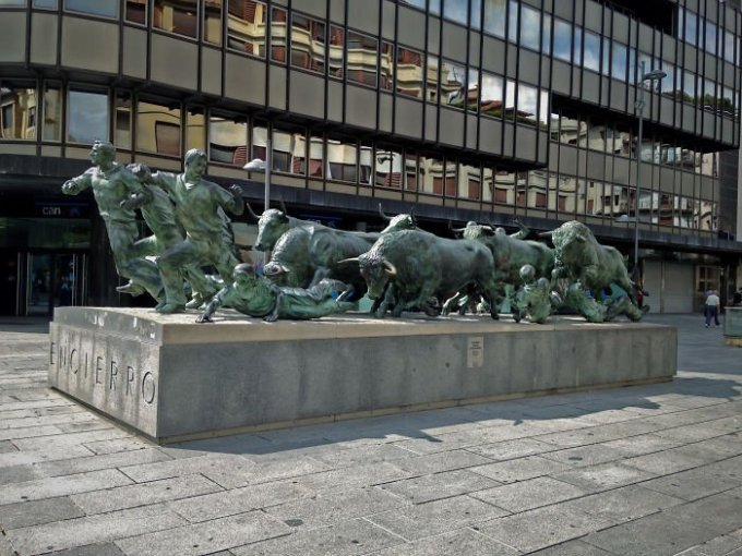 Bull running - Monument In Pamplona, Navarre, The Land Of San Fermines