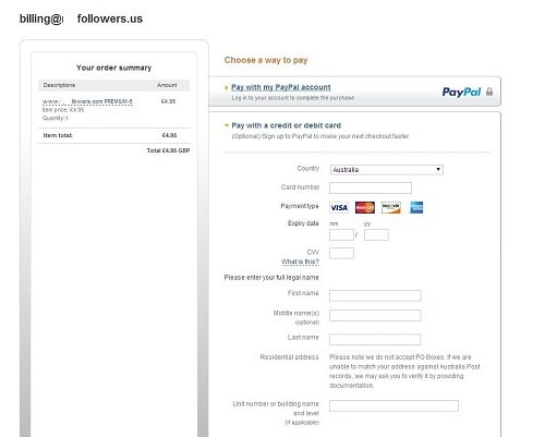 Paypal redirection for premium followers_Australia