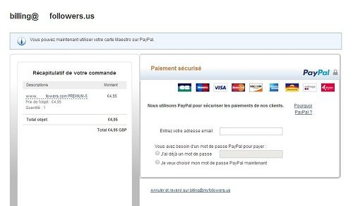 Paypal redirection for premium followers_France