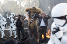 Star Wars: The Force Awakens L to R: Finn (John Boyega), Chewbacca (Peter Mayhew), and Han Solo (Harrison Ford) Ph: David James © 2015 Lucasfilm Ltd. & TM. All Right Reserved.