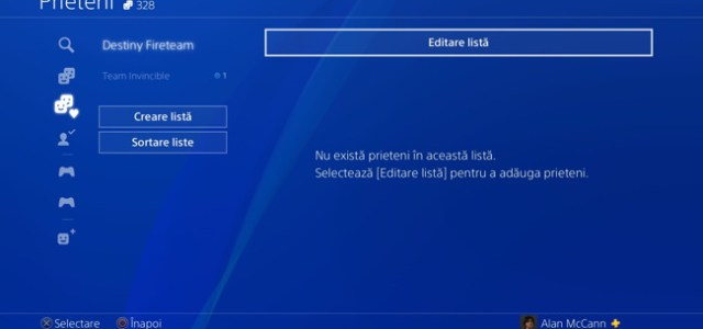 Consola PlayStation 4, meniu în limba română