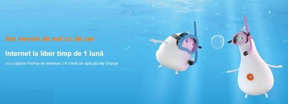 Internet la liber timp de o lună cu opţiunile Orange PrePay