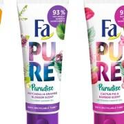 Fa Pure Paradise, prima gamă Fa cu 93%* ingrediente de origine naturală, având ambalaj reciclabil