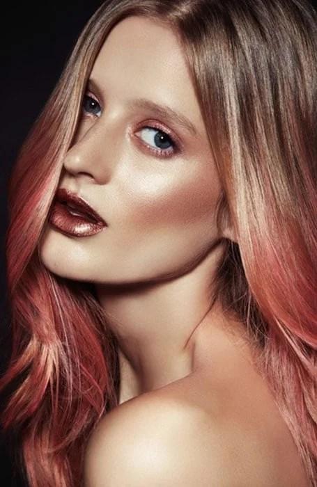 Rose Gold Ends on Dark Blonde Hair