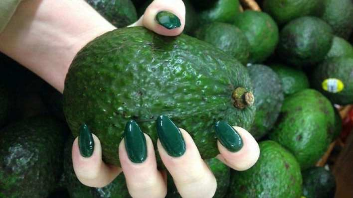 Green Almond Shaped Nails
