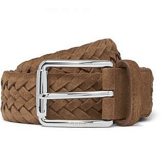 3.5cm Tan Woven Suede Belt