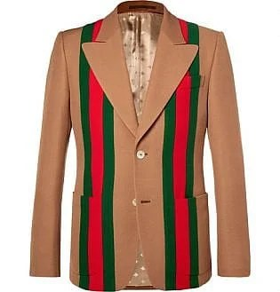 Camel Striped Wool And Silk Blend Crepe Suit Jacket