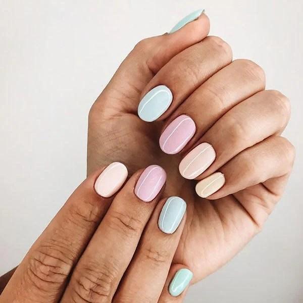 Multicolour Pastel Nails