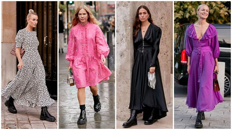 Botas gruesas con vestidos femeninos