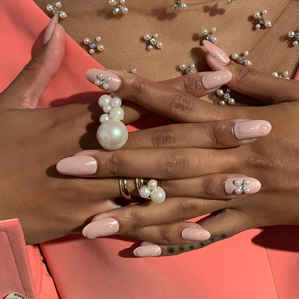 Pearl Detail Luxury Nails