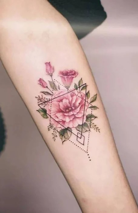 Geometric Floral Tattoo