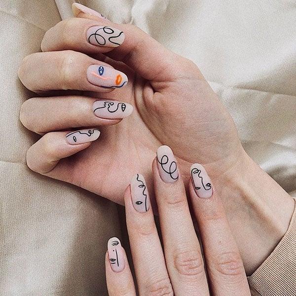 Line Art Nail Design