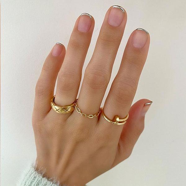 Silver Tips Nail Art Design