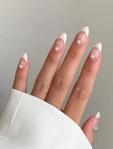 White French Tip With Pearls