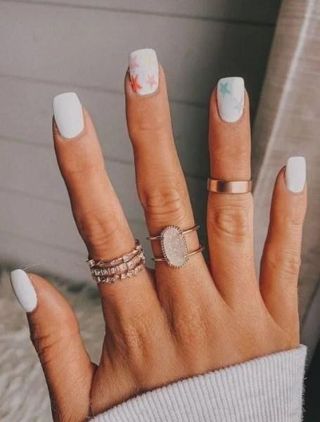 White Nail Design With Stars