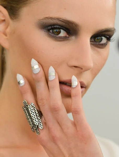 White And Silver Nails