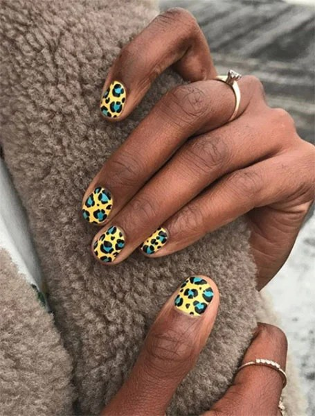 Yellow Animal Print Nails