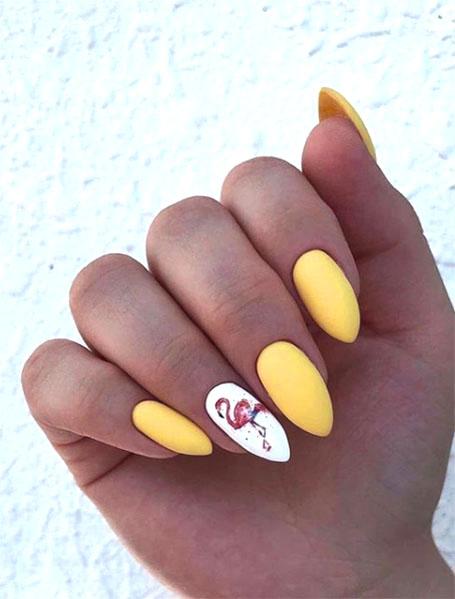 Yellow Flamingo Manicure