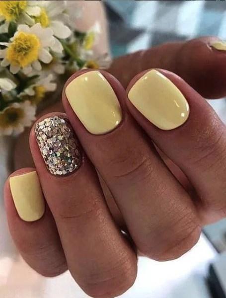Yellow Glitter Nails