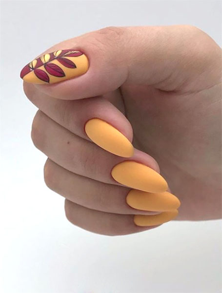 Yellow Manicure With Leavess
