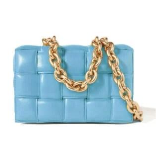 Bottega Veneta Cassette Chain Embellished Padded Intrecciato Leather Shoulder Bag