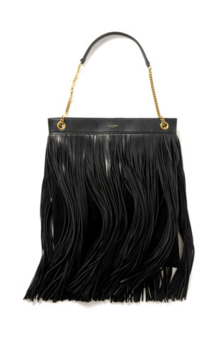 Saint Laurent Grace Large Fringed Leather And Suede Shoulder Bag