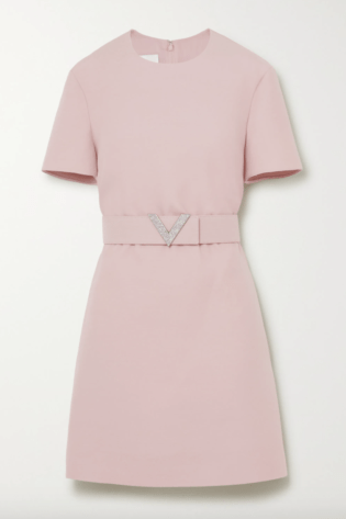 Valentino Crystal Embellished Belted Wool And Silk Blend Crepe Mini Dress