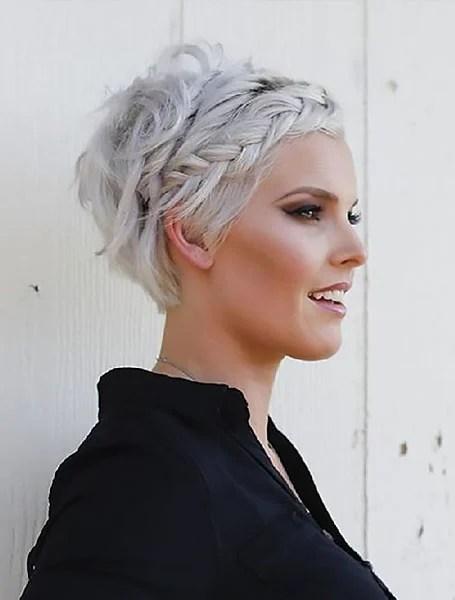 Loose Braids Platinum Blonde Short Hair