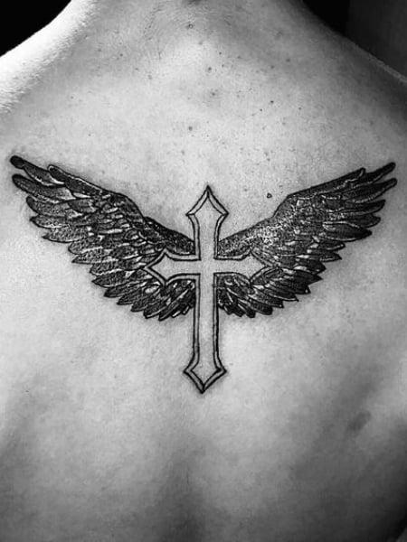 Cross With Angel Wings Tattoo
