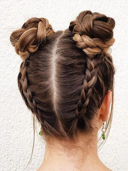 Space Buns With Braids
