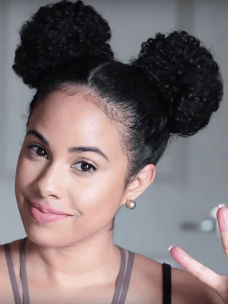 Space Buns With Natural Hair