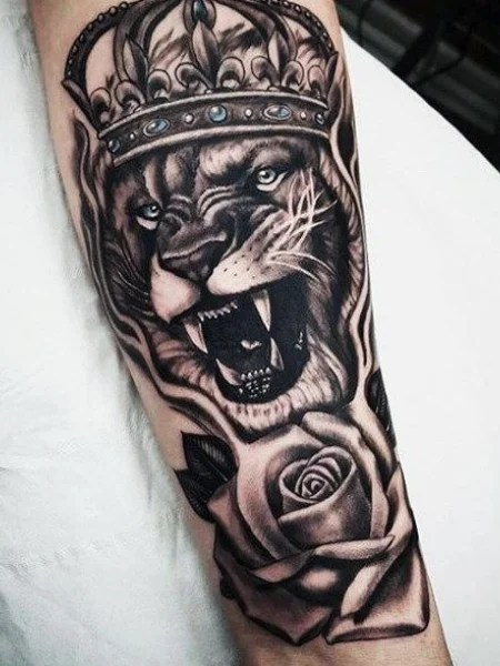 Lion Flower Tattoo
